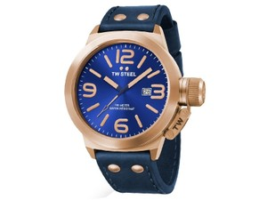 TW Steel CS62 Canteen Men's Blue Leather Bracelet With Blue Dial Watch