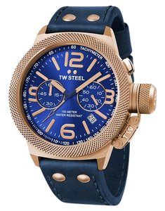 TW Steel CS64 Canteen Men's Blue Leather Bracelet With Blue Dial Watch