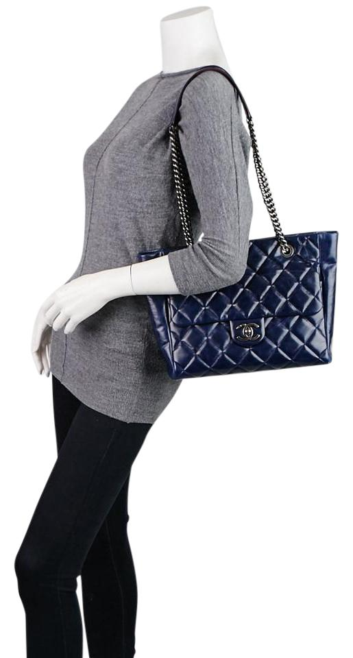 04c8af6e110dc8 Chanel Gabrielle Glazed Calfskin Quilted Small Duo Color Tote 825ct14 Navy  Blue Leather Shoulder Bag