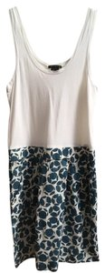Theory short dress White with Blue pattern skirt on Tradesy