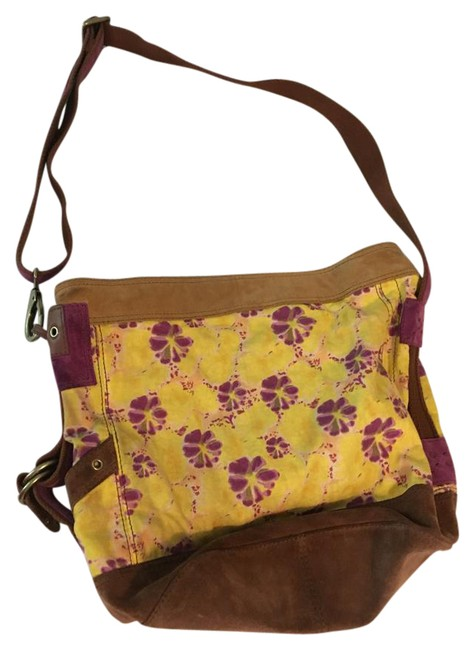 Item - Print Yellow and Purple Floral Linen with Leather Trim Cross Body Bag