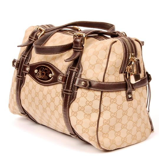 01aabbb9b3fa Gucci Brown Monogram 5043 Canvas and Leather Boston Shoulder Bag - Tradesy