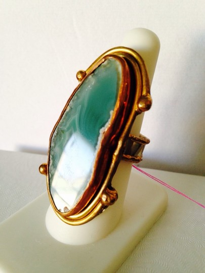 Other Embellished by Leecia Green Brazilian Sliced Agate In 14kt Gold, Copper & Silver Ring, Size 7-9