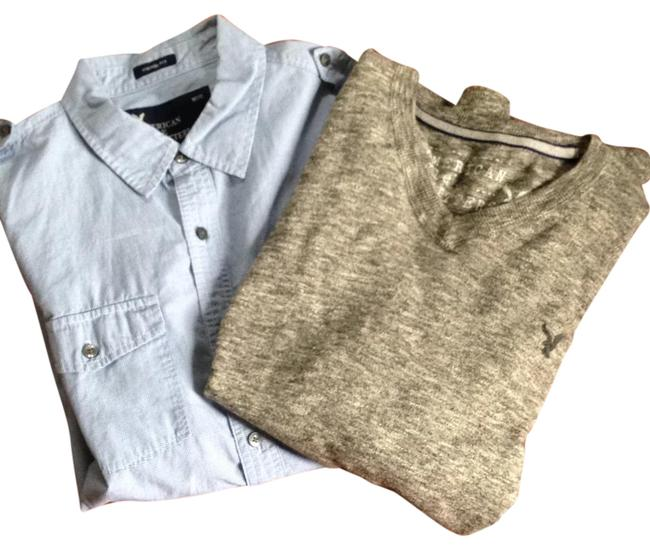 Preload https://img-static.tradesy.com/item/21980103/american-eagle-outfitters-heathered-gray-and-blue-men-s-bundle-button-down-top-size-14-l-0-1-650-650.jpg