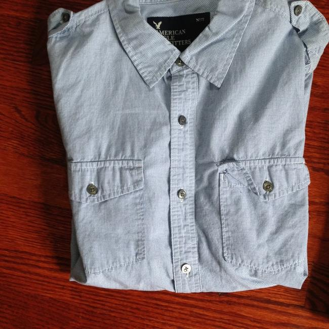 American Eagle Outfitters Button Down Shirt Heathered Gray and Blue Image 2
