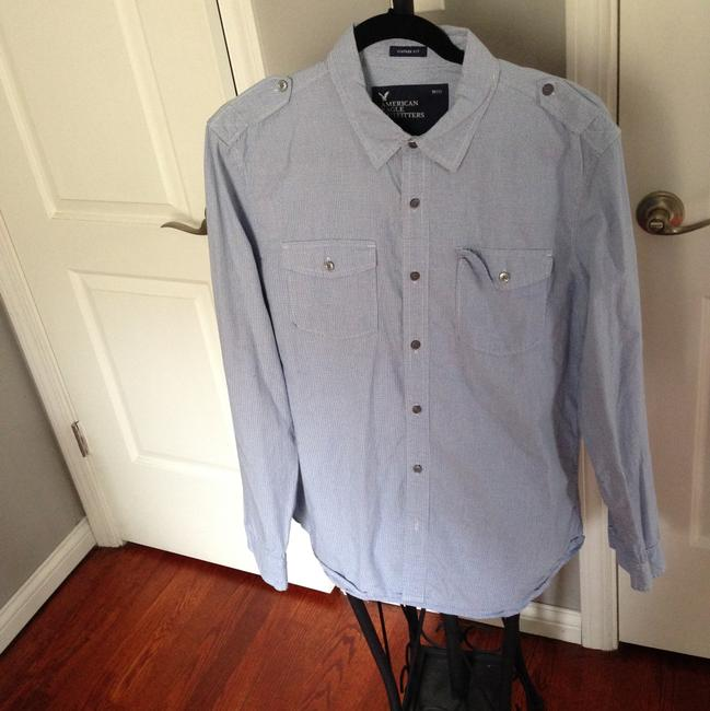 American Eagle Outfitters Button Down Shirt Heathered Gray and Blue Image 3