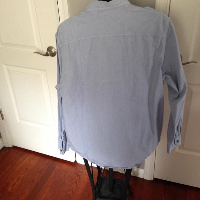 American Eagle Outfitters Button Down Shirt Heathered Gray and Blue Image 4