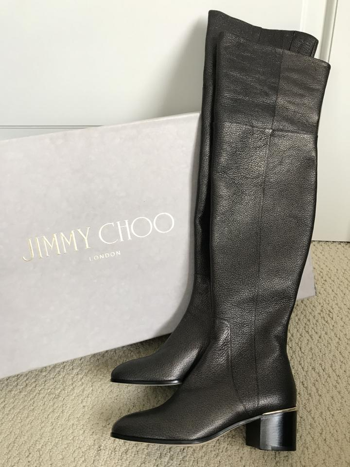 7871f9287f3 Jimmy Choo Dark Metallic Brown Harmony 45 Over The Knee Boots Booties Size  EU 37.5 (Approx. US 7.5) Regular (M