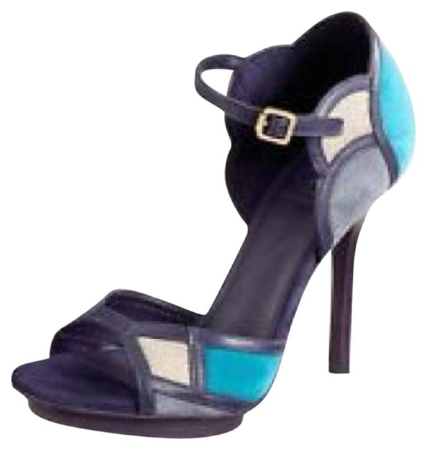 Item - Purple Blue Gray Brown Anatasia Colorblock Sandals Size US 8 Regular (M, B)