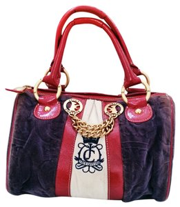 Juicy Couture Suede Satchel in Navy / Red