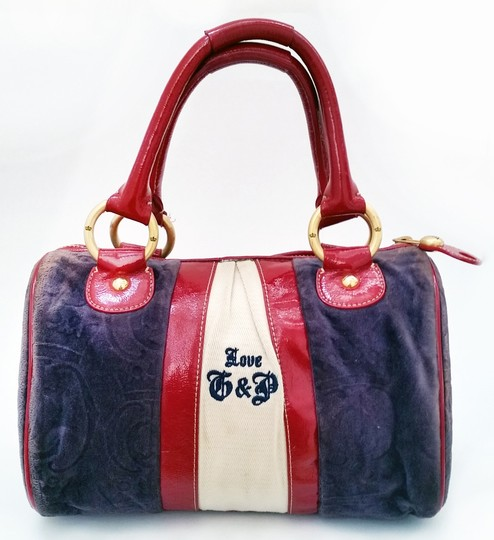 Juicy Couture Suede Duffle Designer Satchel in Navy / Red