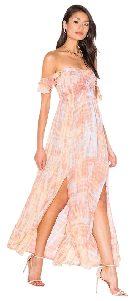 0bc7d3d0ab92e4 Leo Beige Skins Maxi Dress by Tiare Hawaii Summer Maxi Tie Dye Flowy Off  Shoulder Image