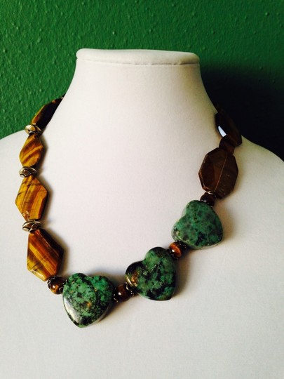 My Closet- Embellished by Leecia Embellished by Leecia Faceted Large Tigers Eye & Heart Shaped Green Turquoise With Sterling Silver Necklace Image 1