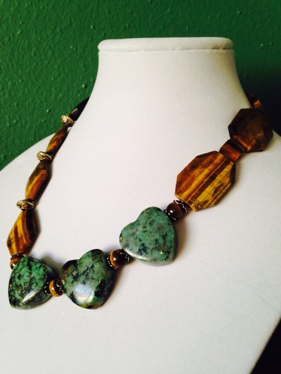 My Closet- Embellished by Leecia Embellished by Leecia Faceted Large Tigers Eye & Heart Shaped Green Turquoise With Sterling Silver Necklace