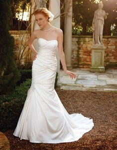Casablanca Ivory Satin Style Number 2037 Formal Wedding Dress Size 6 (S)