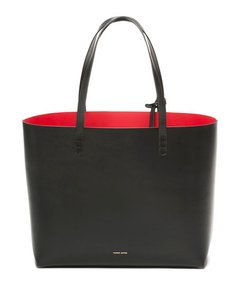Mansur Gavriel Red Interior Leather Classic Tote in Black