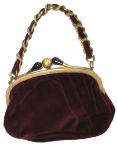 J.Crew Chain Strap Red Velvet WINE Clutch