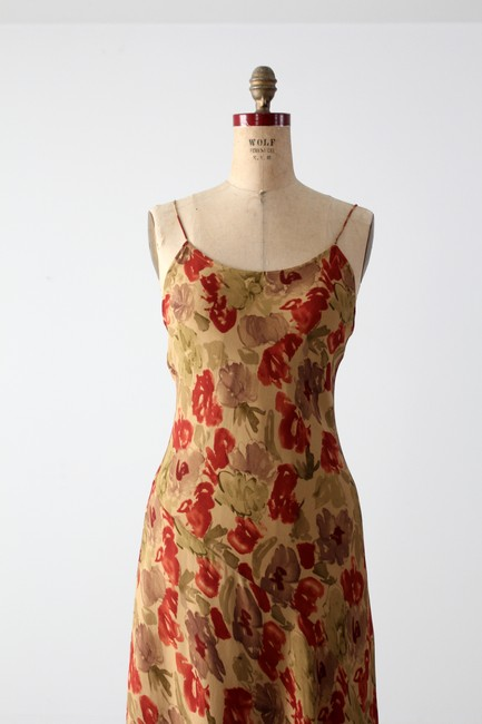 Tan with Red Maxi Dress by bebe Silk Maxi Floral