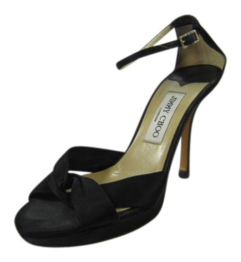 Jimmy Choo Strappy Satin BLACK Sandals Image 0
