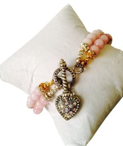 Embellished by Leecia Pink Jade & Austrian Crystal In 14kt gold Gold Plate & Sterling Silver Bracelet Only! Matching Necklace Sold Seperately
