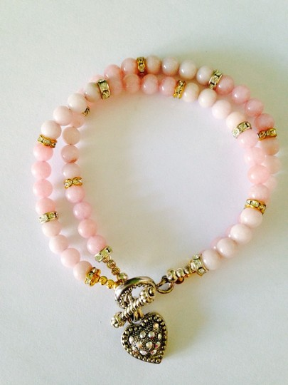 Other Embellished by Leecia Pink Jade & Austrian Crystal In 14kt gold Gold Plate & Sterling Silver Bracelet Only! Matching Necklace Sold Seperately