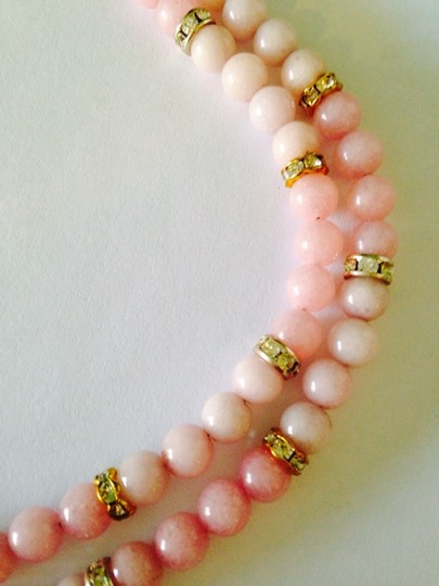 Other Embellished by Leecia Pink Jade & Austrian Crystal In 14kt gold Gold Plate & Sterling Silver Bracelet Only! Matching Necklace Sold Seperately Image 6