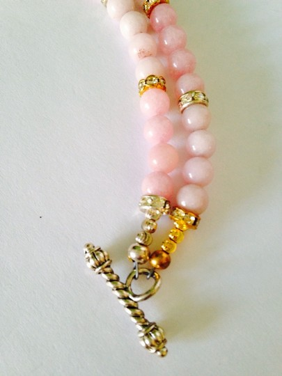 Other Embellished by Leecia Pink Jade & Austrian Crystal In 14kt gold Gold Plate & Sterling Silver Bracelet Only! Matching Necklace Sold Seperately Image 7