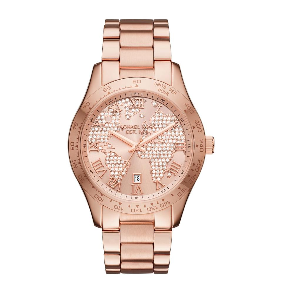 Michael kors rose gold layton world map watch tradesy michael kors michael kors layton world map rose gold watch gumiabroncs Image collections