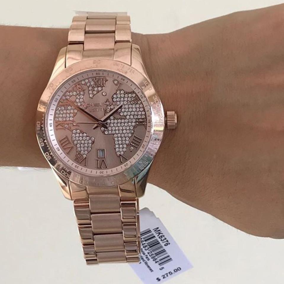 Michael kors rose gold layton world map watch tradesy world map rose gold watch 1234 gumiabroncs Image collections