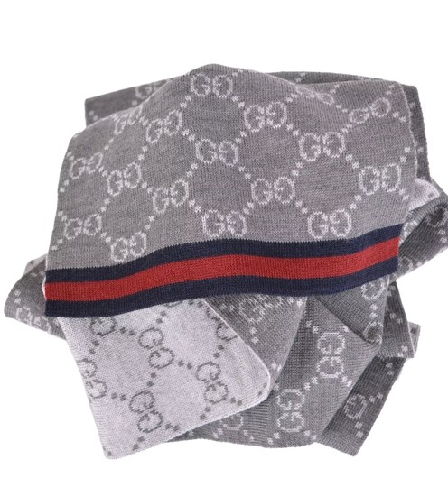 Gucci NWT NEW Gucci Wool Grey Reversible GG Blue Red Web 325806 Scarf Image 1