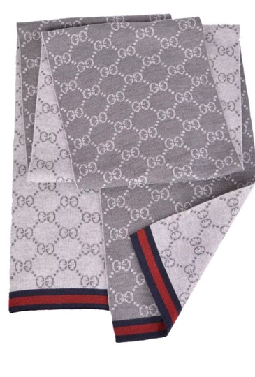 Gucci NWT NEW Gucci Wool Grey Reversible GG Blue Red Web 325806 Scarf Image 2