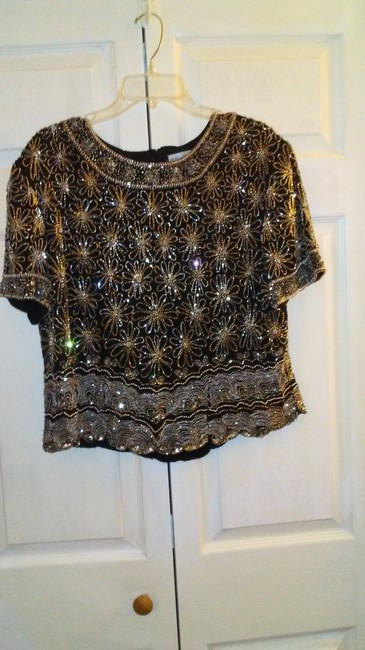 Papell Boutique Top Black and silver Image 1