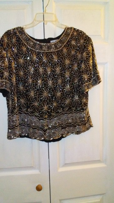 Papell Boutique Top Black and silver Image 2