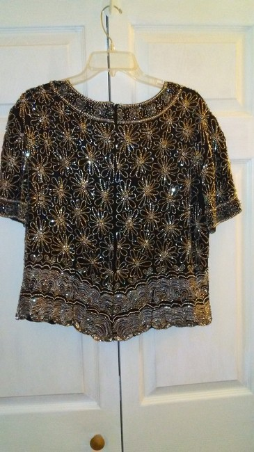 Papell Boutique Top Black and silver Image 3