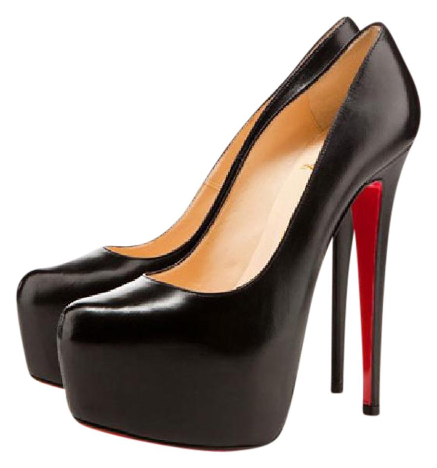 newest 3e1ab 0e187 Christian Louboutin Black Daffodile 39it Leather Platform High Heel Red  Sole Boot Lady Toe Pumps Size EU 39 (Approx. US 9) Regular (M, B)