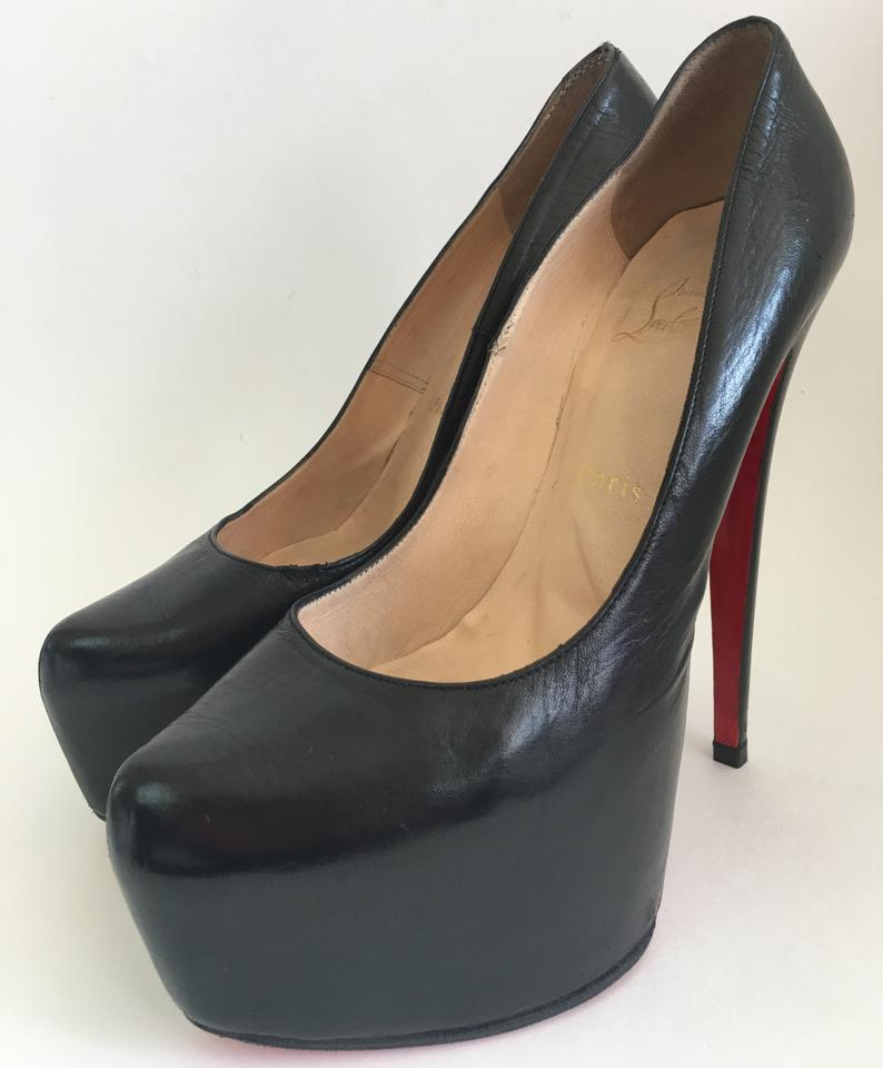 910038a7de1 Christian Louboutin Black Daffodile 39it Leather Platform High Heel Red  Sole Boot Lady Toe Pumps Size EU 39 (Approx. US 9) Regular (M, B)