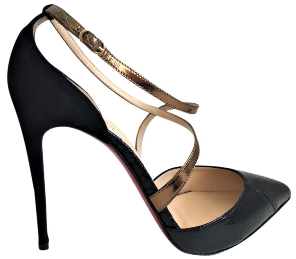 50fdb3f411ce Christian Louboutin Gold Black Suede High Heel Lady Pigalle Sandal Red  Python Crystal Toe Pumps