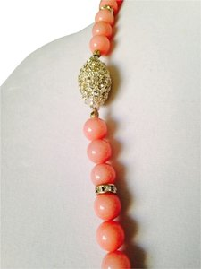 Pink Jade & Austrian Crystal In Sterling Silver Necklace