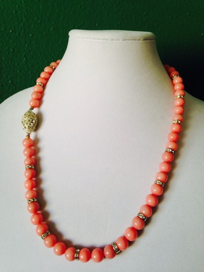 Other Pink Jade & Austrian Crystal In Sterling Silver Necklace Image 1
