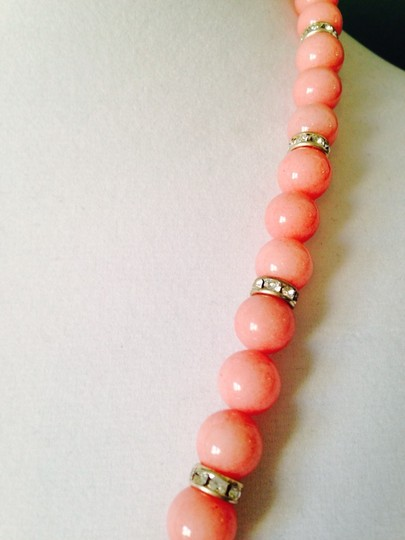 Other Pink Jade & Austrian Crystal In Sterling Silver Necklace Image 2