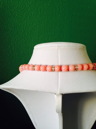 Other Pink Jade & Austrian Crystal In Sterling Silver Necklace