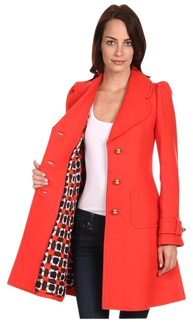 Item - Red Orange New York Wool Winter A-line Lady Coat Size 4 (S)