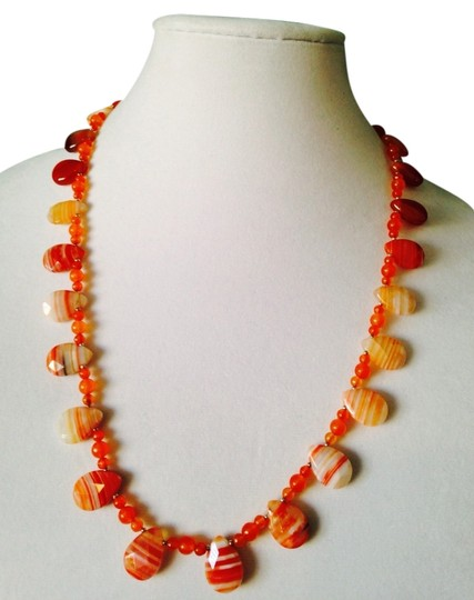 Preload https://img-static.tradesy.com/item/2198299/orangesilver-faceted-desert-agate-teardrops-and-carnelian-with-sterling-18kt-gold-plated-necklace-0-0-540-540.jpg