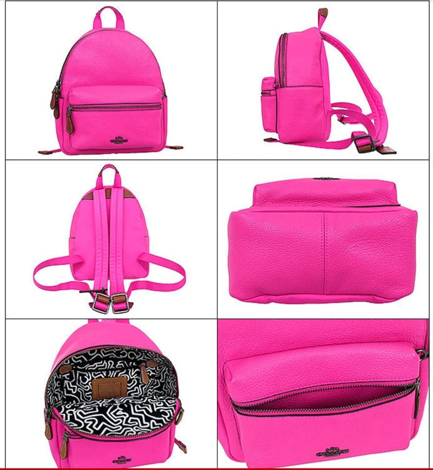 Coach Mini Charlie F11774 F11769 X Keith Haring Nickel Pink Fuchsia Charles Ampamp Messenger Leather Backpack Tradesy