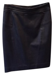 Etcetera Leather Seamed Skirt Navy