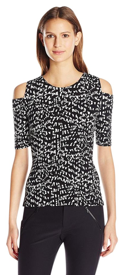9bff2fc8204dd Vince Camuto Rich Black Mosaic Print Cold Shoulder 3 4 Sleeve Jersey ...