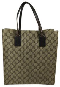 Gucci Monogram Leather Tote in Brown