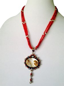 Large Blistered Pearl, Rainbow Moonstone & Red Coral In Sterling Silver Pendant & Necklace