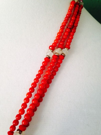 Other Large Blistered Pearl, Rainbow Moonstone & Red Coral In Sterling Silver Pendant & Necklace