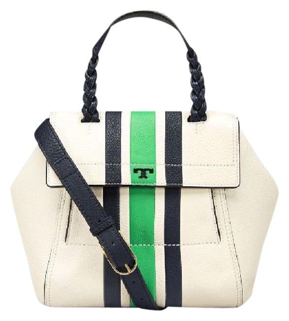 Item - Half Moon Small Stripe Satchel Green Navy Ivory White Leather Messenger Bag